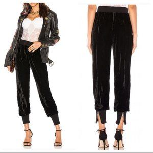 LPA Velvet Jogger Pants Black Zipper Ankles
